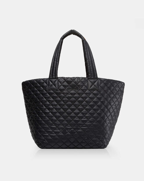 Black Quilted Oxford Nylon Medium Metro Tote (3760108) in color Black