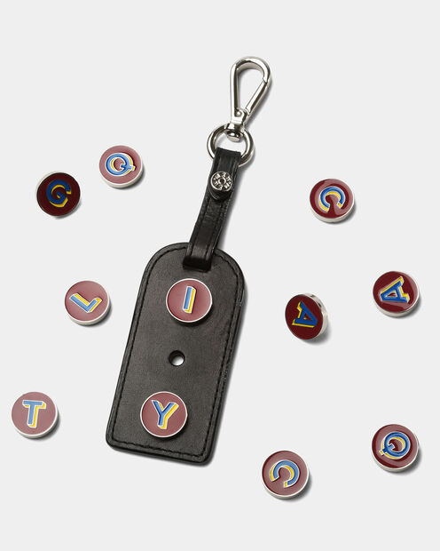 Black Vacchetta Leather Charm Tag (1460067) in color