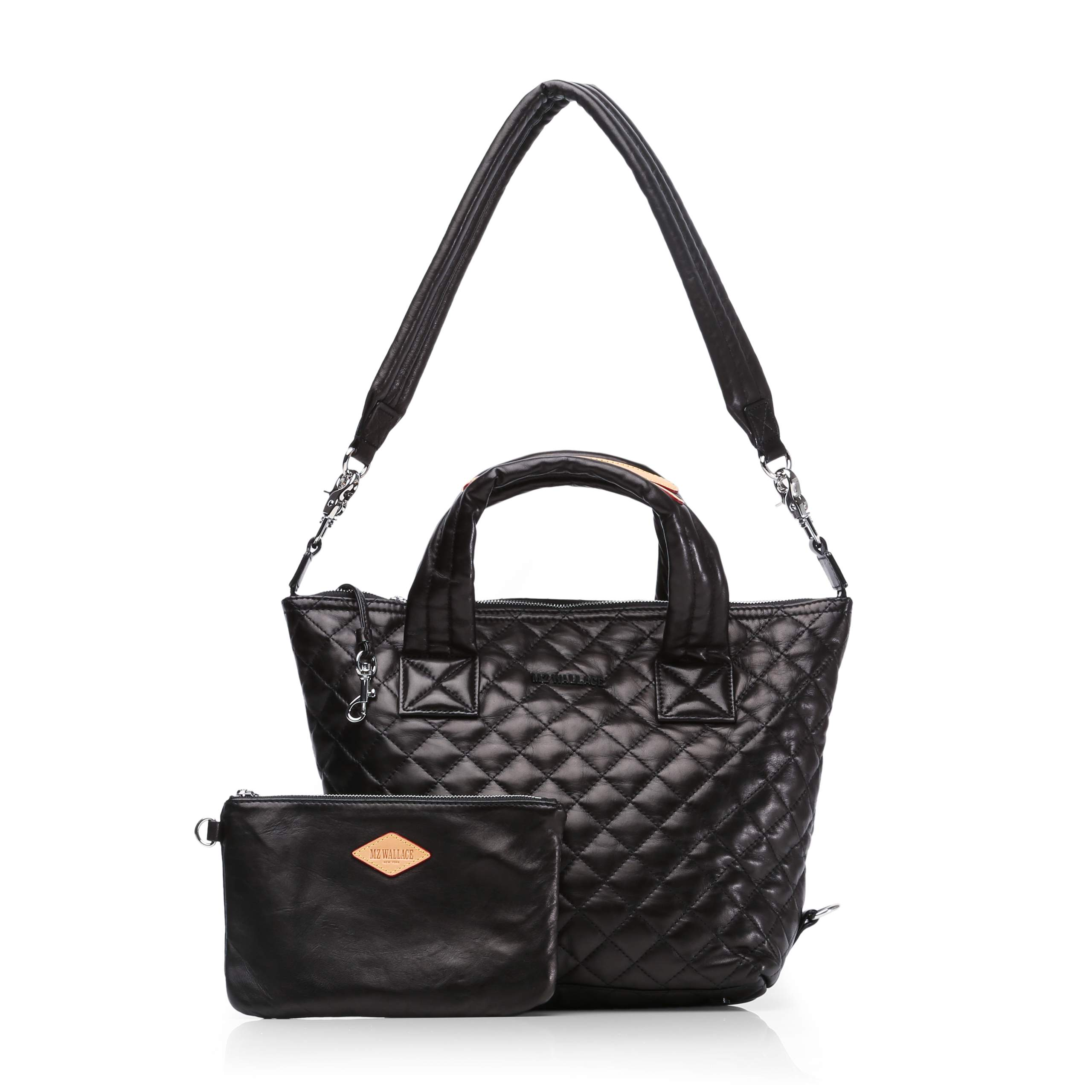 Small Sutton - Black Quilted Leather (2881153) in color Black Leather