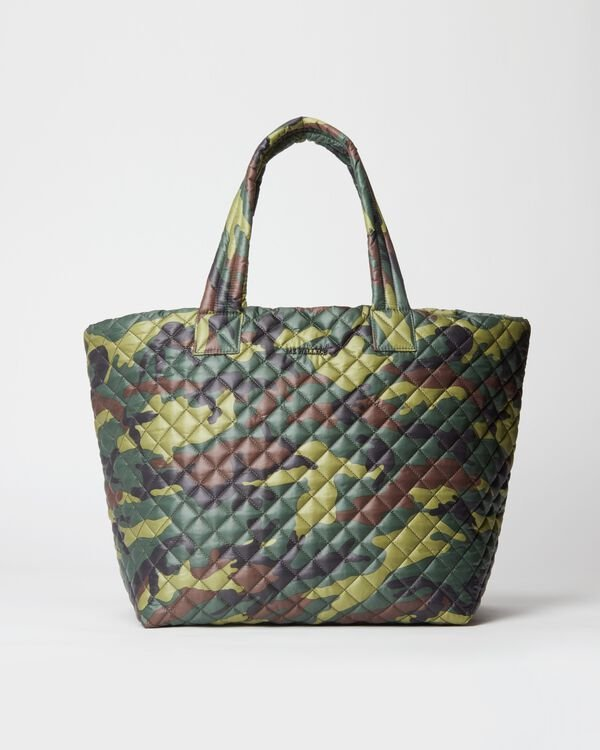 Green Camo with Matte Black Hardware Large Metro Tote