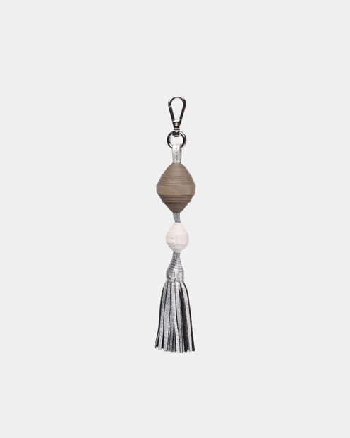 Ball and Tassel in color White, Silver, & Taupe