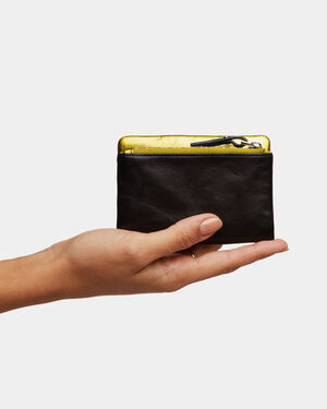 Black Leather with Yellow Metallic Lilly Wallet (11701527)