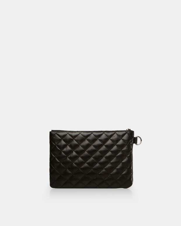 Black Quilted Leather Small Metro Pouch (10601153)