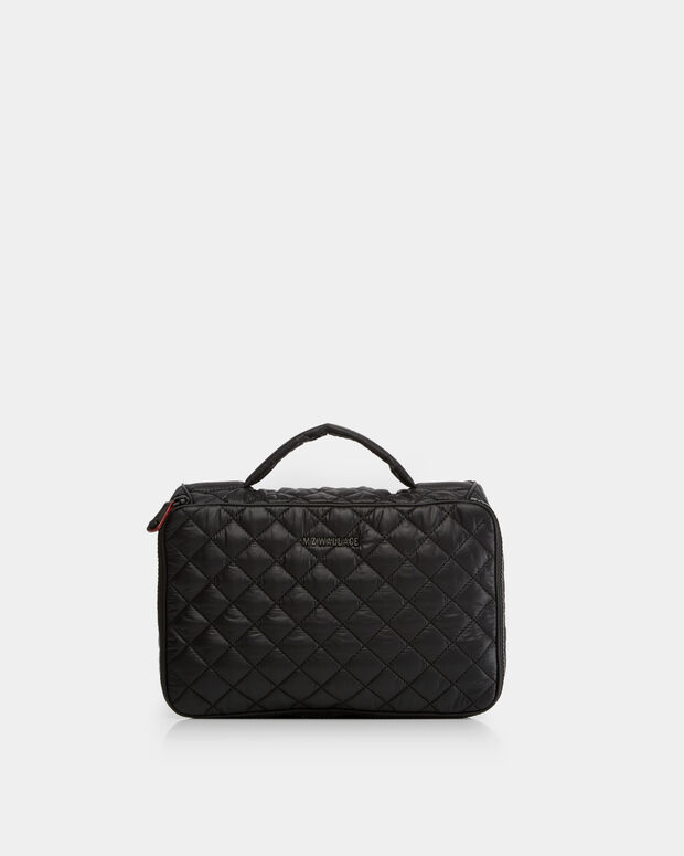 Black Quilted Oxford Nylon Zip Round Cosmetic (1790108)