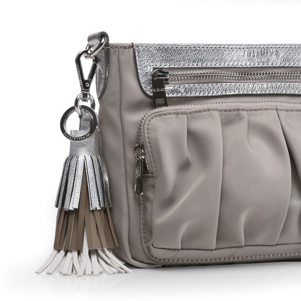 White/Silver/Taupe Leather Fiesta Tassel (3801382) in color