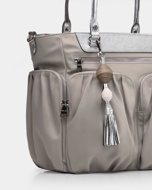 White Silver Taupe Leather Ball and Tassel (3751382) in color White, Silver, & Taupe
