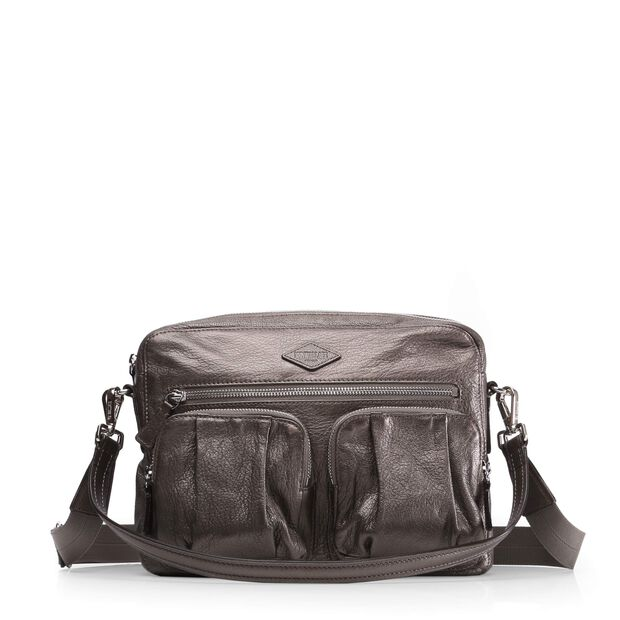 Roxy Crossbody in color Platinum Luster Leather
