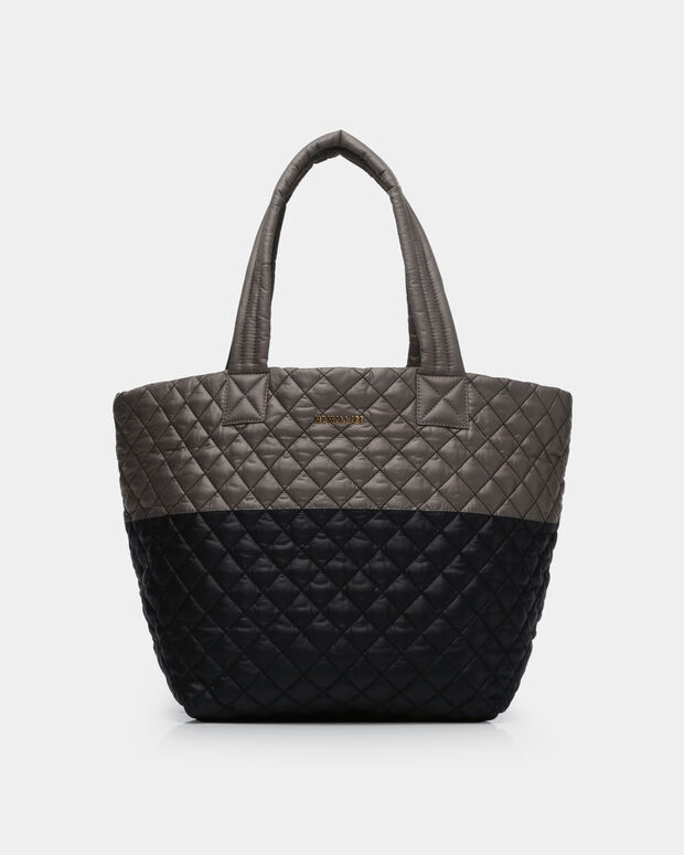 Medium Metro Tote - Black and Magnet Quilted Colorblock (3761329)