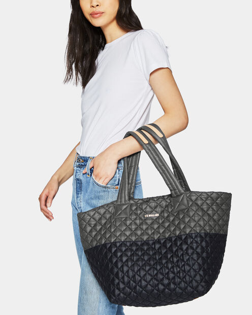 Medium Metro Tote - Black and Magnet Quilted Colorblock (3761329) in color Black & Magnet