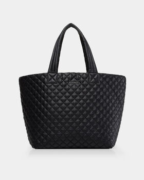 Black Quilted Oxford Large Metro Tote (3710108) in color Black