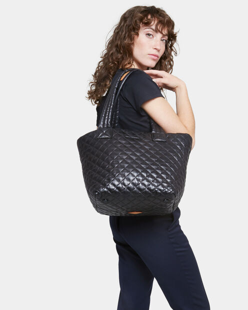 Small Metro Tote - Black Quilted Leather (3701153) in color Black Leather