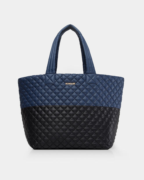 Black/Navy Colorblock Oxford Large Metro Tote (3710406) in color Black & Navy