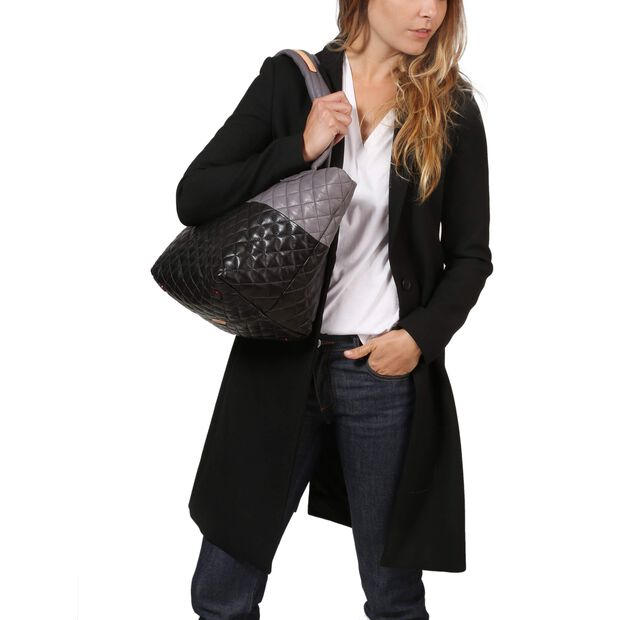 Small Metro Tote - Black & Magnet Colorblock Leather (3701361) in color Black & Magnet Leather