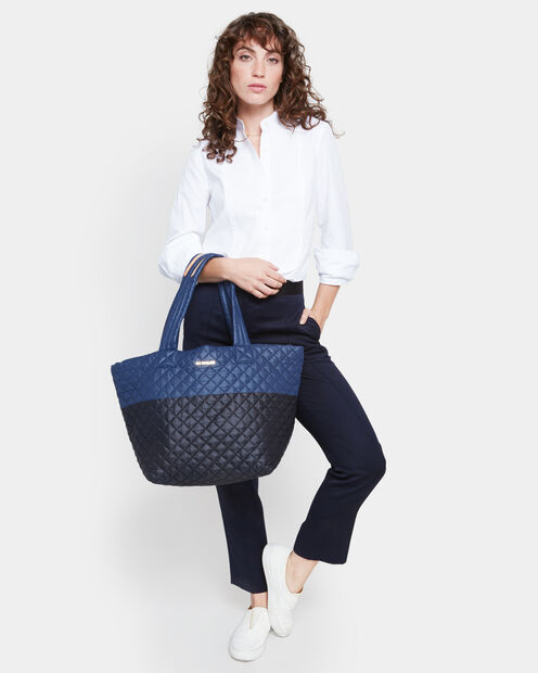Black/Navy Colorblock Oxford Medium Metro Tote (3760406) in color Black & Navy
